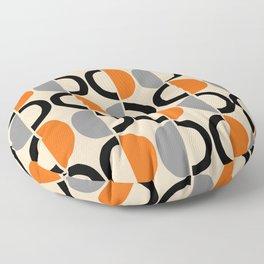 Mid Century Modern Half Circle Pattern 548 Beige Black Gray and Orange Floor Pillow