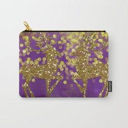 Purple Christmas faux golden glitter deer Carry-All Pouch