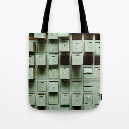 Old green wooden cabinet with drawers Tote Bag