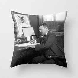 Theodore Roosevelt Signing Thanksgiving Proclamation Act - 1902 Throw Pillow