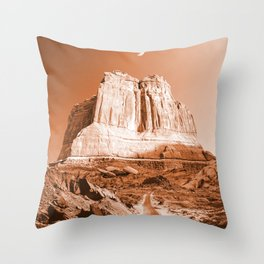 Desert Road Utah-Sepia Throw Pillow