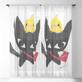 Yeux Du Chat Noir Sheer Curtain