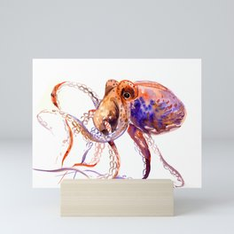 Octopus, orange purple aquatic animal design Mini Art Print