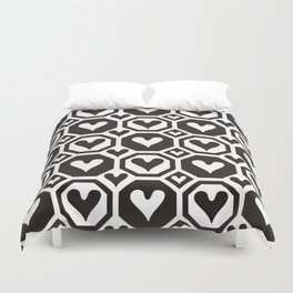 Black and white heart pattern 03 Duvet Cover