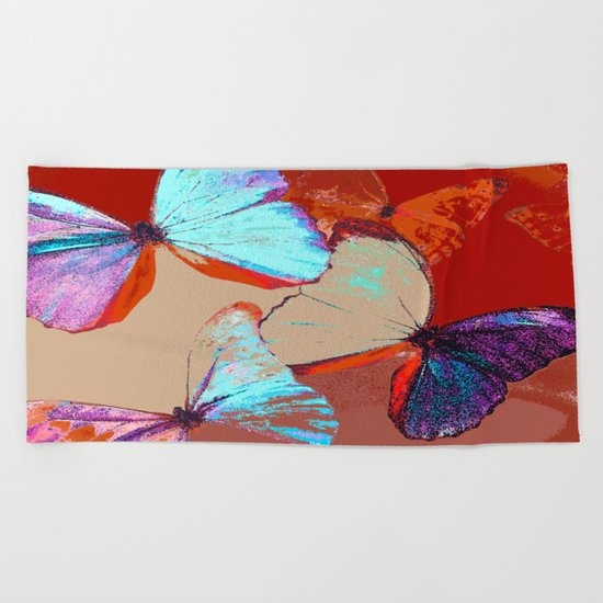 Butterflies in different colors Beach Towel