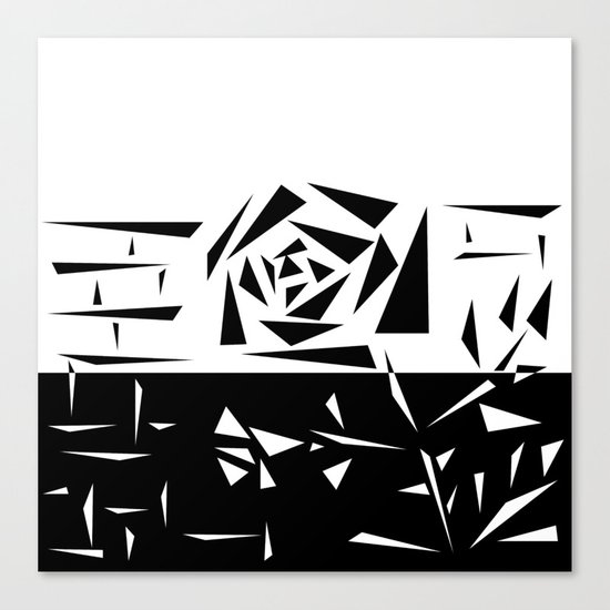 Abstract rose. black and white . 1 Canvas Print