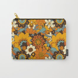 70s Retro Flower Power 60s floral Pattern Orange yellow Blue Carry-All Pouch