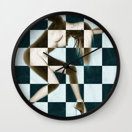 Survive Nude Woman Checkered 1 Wall Clock