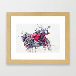1984 Kawasaki GPZ 750 R 2 watercolor by Ahmet Asar Framed Art Print