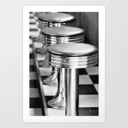 VINTAGE DINER BAR STOOLS - BYGONE ERA - MID CENTURY CHIC Art Print