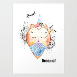 Sweet Dreams Quote Illustration Art Print