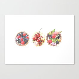 Three berry tarts Canvas Print