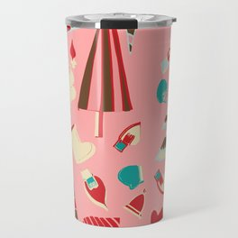 Vintage Christmas Pink Travel Mug