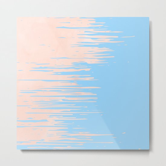 Carefree - Sweet Peach Coral Pink on Blue Raspberry Metal Print