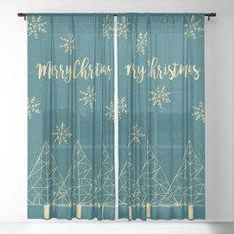 Merry Christmas Teal Gold Sheer Curtain