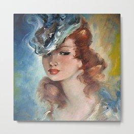 Belle Jeune Femme à Paris, female portrait painting Metal Print