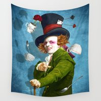mad Wall Tapestries featuring Mad Hatter by Diogo Verissimo