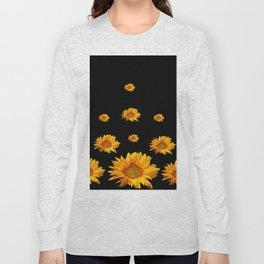 RAINING GOLDEN YELLOW SUNFLOWERS BLACK COLOR Long Sleeve T-shirt