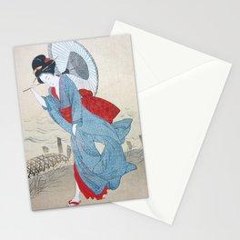 Geisha strolling in kimono with umbrella Stationery Cards