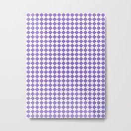 Small Diamonds - White and Dark Pastel Purple Metal Print
