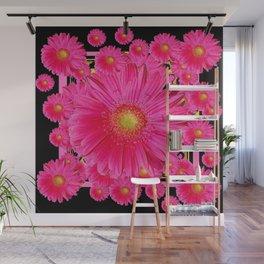 Black & Pink Gerbera Flowers Grey Patterns Art Wall Mural