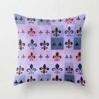 fleur de lis Throw Pillows featuring Fleur de lis #5 by Camille