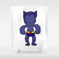 xmen Shower Curtains featuring BEAST by Space Bat designs