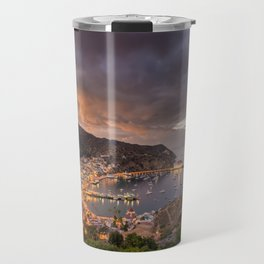 Harbor at Avalon on Catalina Island at Sunset Travel Mug