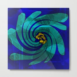 Botanical Blue Swirl Metal Print