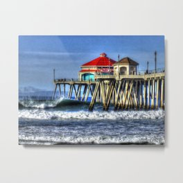 Empty Wave Southside Huntington Beach Pier Metal Print