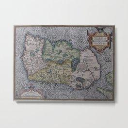 Vintage Map of Ireland (1592) Metal Print