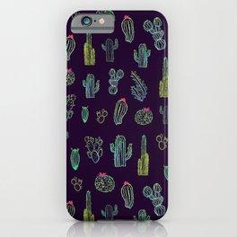 Dark Watercolour Cactus iPhone Case