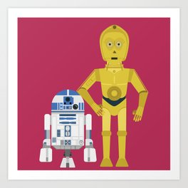 C3P0 and R2D2 vector Art Print