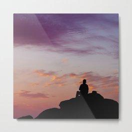 Man Enjoying Sunset II Metal Print