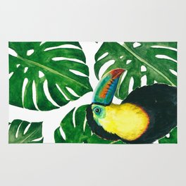 Toucan parrot with monstera leaf pattern Rug