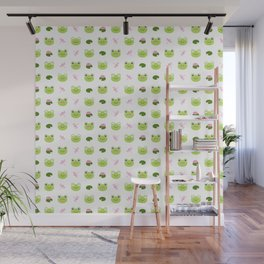 Frogs, Dragonflies and Lilypads on White Wall Mural