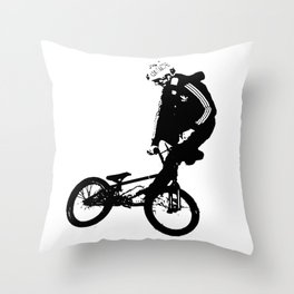 Black BMX Rider Throw Pillow