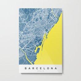 Barcelona Map   Spain   Blue & Yellow Colors Metal Print