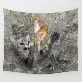 Red in tooth and claw - cat and bird Wall Tapestry