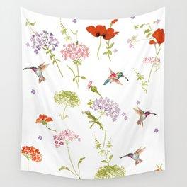 Hummingbird floral Wall Tapestry