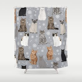 Cat breeds snowflakes winter cuddles with kittens cat lover essential cat gifts Shower Curtain