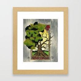 Tree with deco border. Framed Art Print