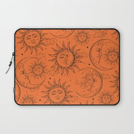 Orange Magic Celestial Sun Moon Stars Laptop Sleeve