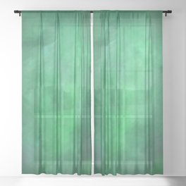Abstract Watercolor Blend 2 Deep Dark Green and Light Green Sheer Curtain
