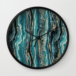 Turquoise Gold Sparkling Luxury Marble Gemstone Art Wall Clock