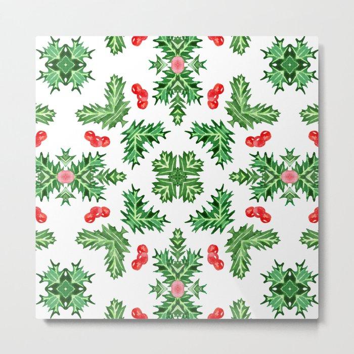 Holly Jolly Christmas Kaleidoscope (Large Pattern) Metal Print
