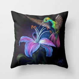The Stargazer and The Hummingbird Throw Pillow