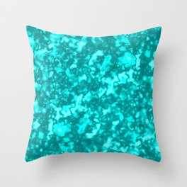 A chaotic cluster of light blue bodies on a light background. Throw Pillow