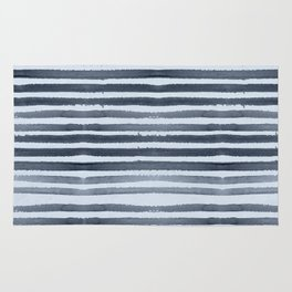 Simply Shibori Stripes Indigo Blue on Sky Blue Rug