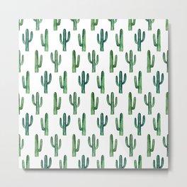 Cactus pattern Watercolor green decor Modern illustration botanical Nature art Metal Print